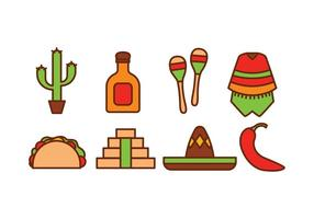 Mexico pictogram pack vector