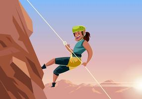 Vrouw Rappelling Down Mountain Vector