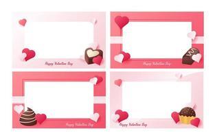 Valentijnsdag chocolaatjes frame vector