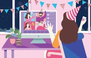 virtuele nieuwjaarsbijeenkomst vector