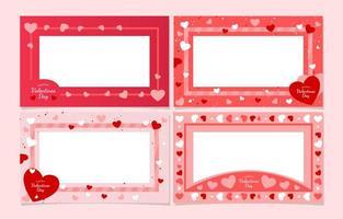 zachtroze harten voor valentijnsdagframes vector