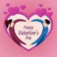 roze valentijn concept met paar hand in hand