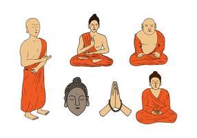 Monniken en Boeddha Handdrawn Vectors