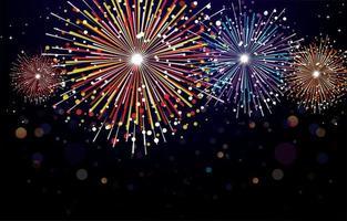 vuurwerk licht in de nachtelijke hemel vector