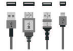 Set van USB-poort iconen