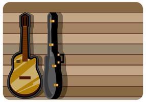 Klassieke gitaar hoesje met houten achtergrond vector