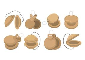 castanets icon set vector