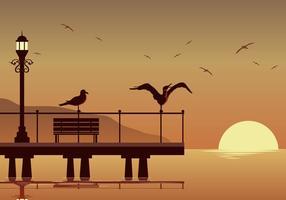Albatros bij strand silhouet vector