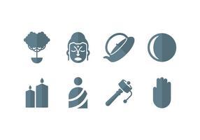 Meditatie, yoga, zen, buddha set iconen