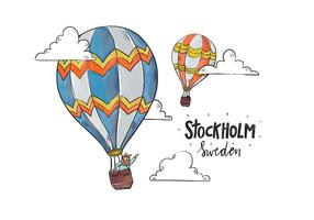 Stockholm Kleurrijke Hete Luchtballon Met Wolken Vector