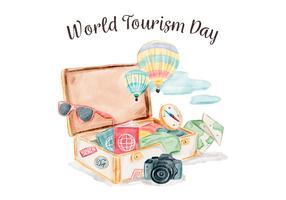 Vector Waterverf Koffer Met Reiselementen Voor Wereld Toerisme Dag