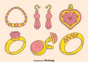 Hand getekende sieraden collectie vector