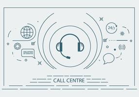 Call Center Flat Line Vector