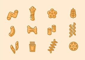 Pasta Diverse Doodle Icons vector
