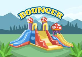 Colorfull Bouncer Voor Kinderen Vectorillustratie