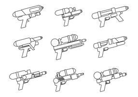 watergun line art set