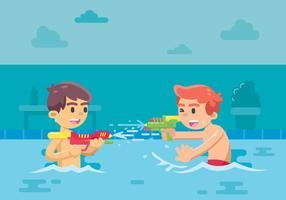 Twee Kinderen Spelen Watergun In The Pool vector