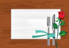 Sjabloon Close-up van de plaat met messen en vork en een servet op de tafel vector