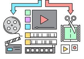 Gratis videobewerkingspictogrammen vector