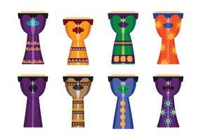afrikaanse djembe drum muziekinstrument plat pictogram vector