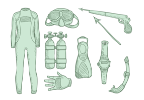 spearfishing apparatuur vector