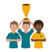 voetbal sportteam met trofee beker vector