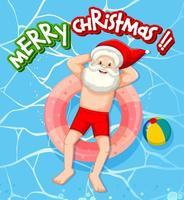 de kerstman ontspant in het thema van de zwembadzomer vector