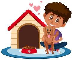 kinderen met hun huisdieren geïsoleerd op een witte achtergrond vector