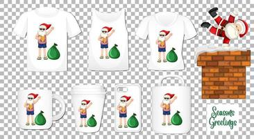 Kerstman dansende stripfiguur met set van verschillende kleding en accessoires producten op transparante achtergrond