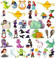 set van fantasie stripfiguren en fantasie thema geïsoleerd op een witte achtergrond vector