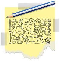 verschillende doodle slagen over wetenschappelijke apparatuur geïsoleerd op papier met een potlood