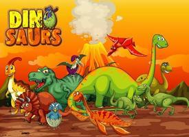 dinosaurussen stripfiguur in natuurtafereel