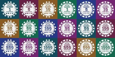pokerfiches wit op kleur