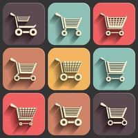 winkelwagentje platte pictogrammenset op kleur vector