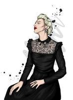 vrouw in stijlvolle kleding vector