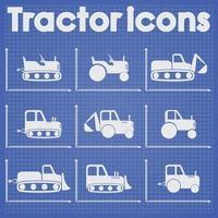 trekkers en bouwmachines pictogrammenset blauwdruk gestileerd vector