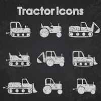 trekkers en bouwmachines pictogrammenset schoolbord gestileerd vector