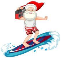 Kerstman surfen in zomer thema op witte achtergrond vector