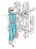 jonge vrouw in stijlvolle kleding vector