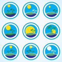 palmbomen en zon, strandresort-logo