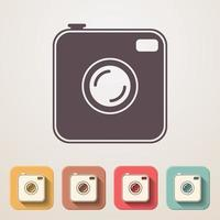 oude fotocamera plat pictogrammen instellen vector