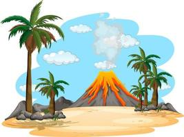 vulkaanuitbarsting buiten scène achtergrond vector