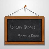 schoolbord houten frame voorbeeldtekst opknoping op muur vector