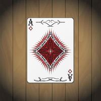 aas van diamanten, pokerkaart houten achtergrond