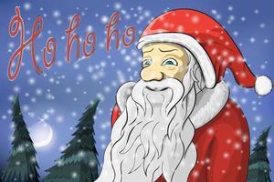 vrolijke kerstmaan, sneeuw en de kerstman