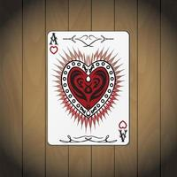 aas harten, poker kaart hout achtergrond
