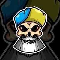 schedel in de blauwe dop op zwarte achtergrond