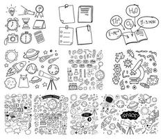 set van object en symbool hand getrokken doodle op witte achtergrond vector
