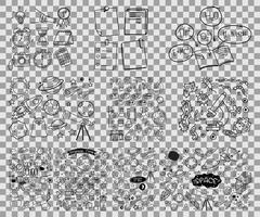 set object en symbool hand getrokken doodle op transparante achtergrond vector