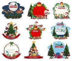 set van lege kerst briefkaart en logo geïsoleerd